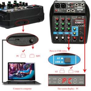 Image 3 - TU04 BT 사운드 믹싱 콘솔 레코드 48V 팬텀 파워 모니터 AUX 경로 플러스 효과 4 채널 usb가있는 오디오 믹서