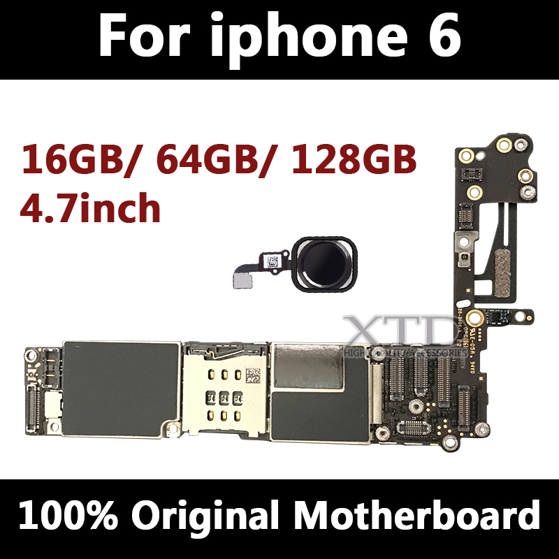 For iPhone 6 4.7inch Motherboard Unlock Mainboard With Touch ID Full Function 100% Original IOS Installed Logic Board