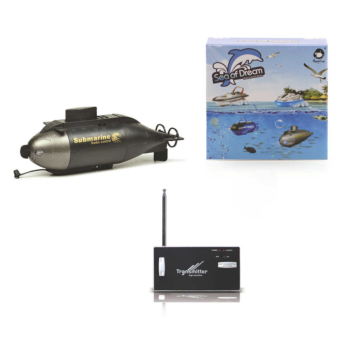 6 Channels Wireless RC Submarine Mini RC Model RC Submarine Diving Electric Remote Control Toys - Black