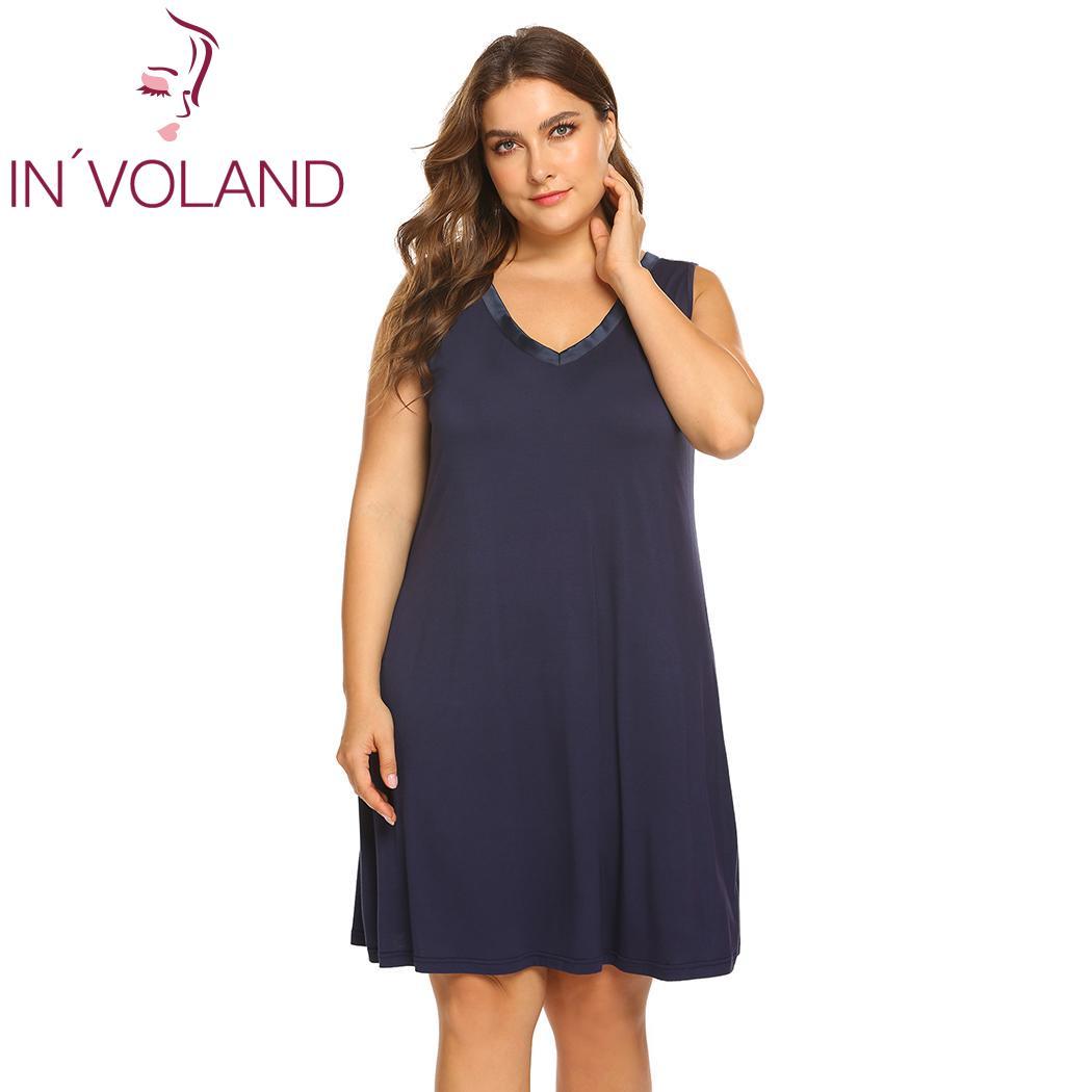 08e50a659f IN VOLAND Plus Size V Neck Women Sleepwear Causal Sleeveless Summer  Nightdress Patchwork Sleepwear Sexy