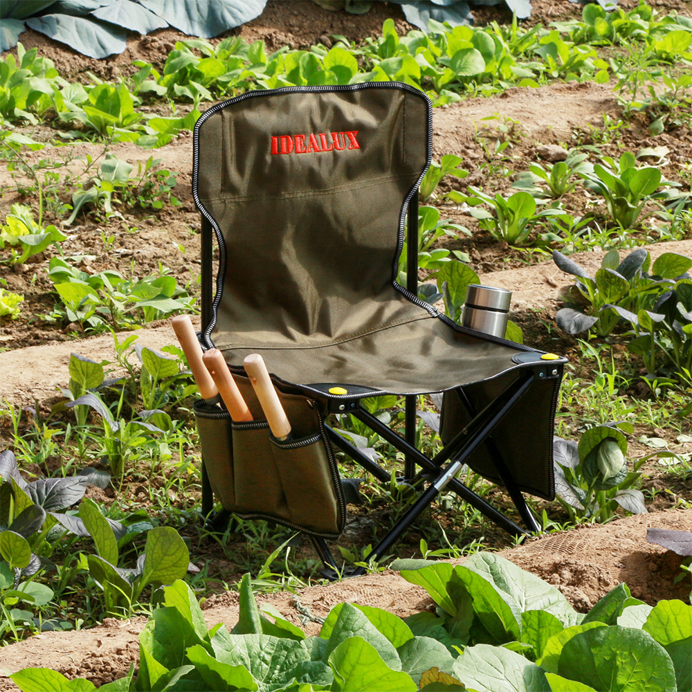 5 Piece Garden Tools Set Folding Chair Storage Pocket 3 Piece Steel Garden Tools Throwl Weeding