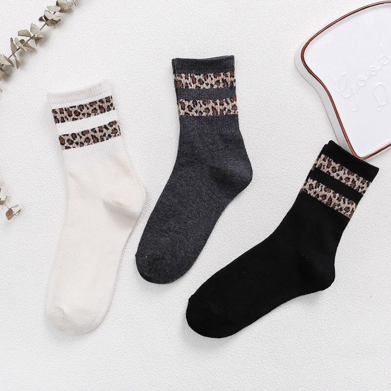 Hot Retro Leopard Print Cotton Blends Women Socks Fashion High Street Popular Stripe Leopard Socks Spring Summer Cool Cozy Socks in Socks from Underwear Sleepwears