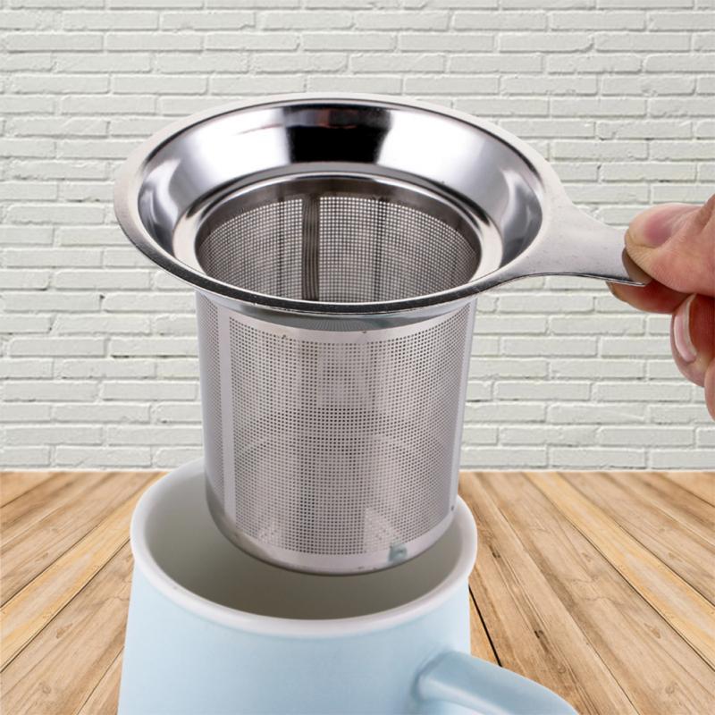مصفاة شاي عملية مصنوعة من الفولاذ المقاوم للصدأ مصفاة شاي شبكية سلة شاي فضفاضة مزودة بمرشح أعشاب لإبريق شاي وإبريق شاي ملحقات