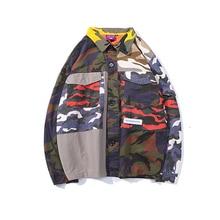 YWSRLM Camo camuflaje Color Patchwork bloque entrenadores chaquetas Hip Hop  Chaqueta de algodón Casual abrigos otoño 2018 moda S.. 301a13acd61