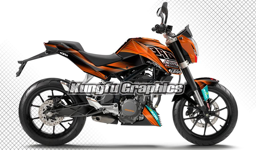 KUNGFU GRAPHICS Motorcycle Stickers Custom Decals Kit Vehicle Wraps for KTM DUKE 125 200 390 2011