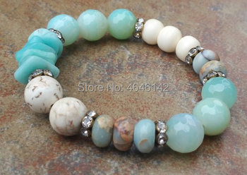 River Stone And Jaspers Amazonite chips AFrican Opal Beads Pave Crystal Boho Elastic Stretch Bracelet