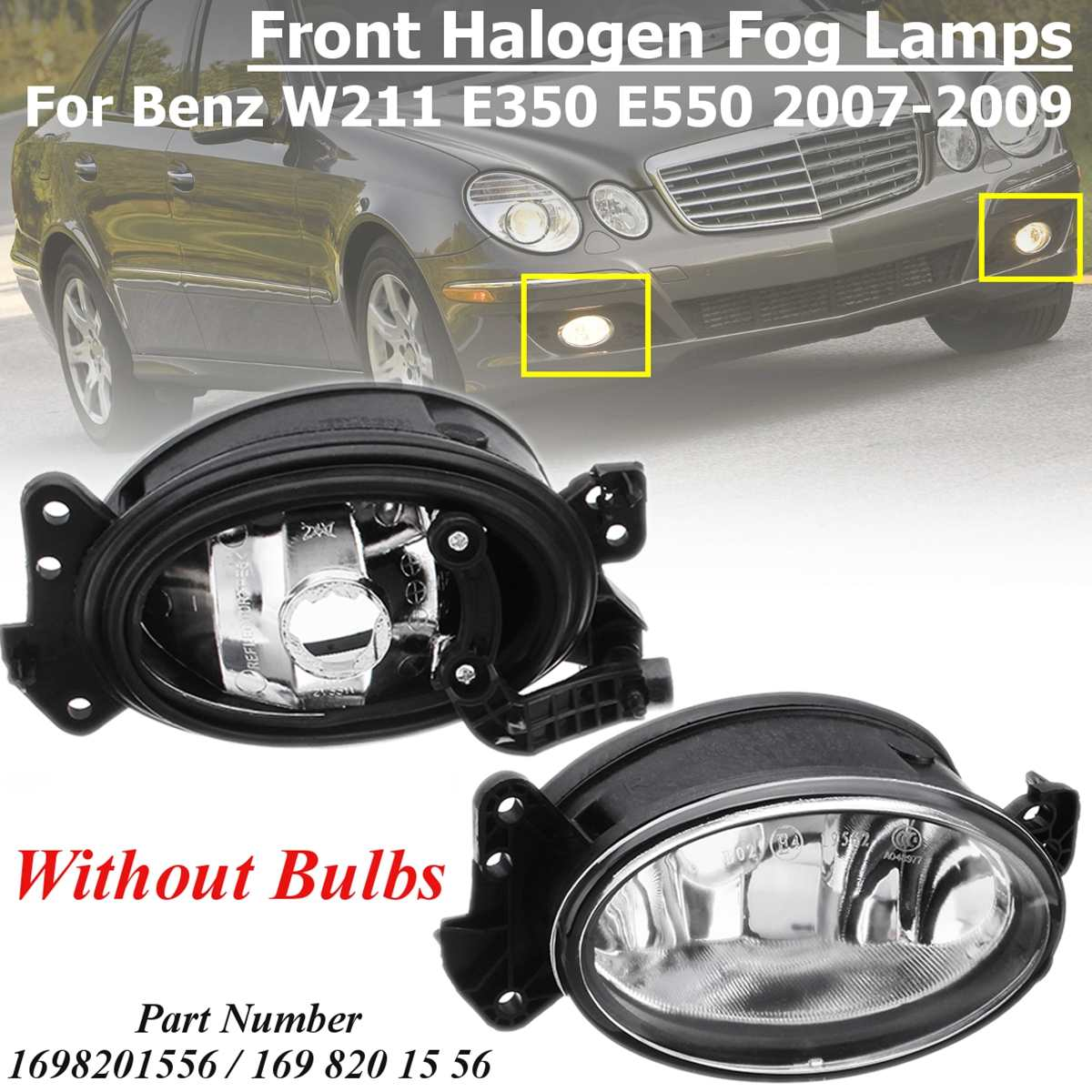 MB2593117 1698201556 1 Pair L+R Front Halogen Fog Light Lamp No Bulb for Benz W204 C230 <font><b>C300</b></font> C350 W211 E320 E350 W164 2007-2009 image