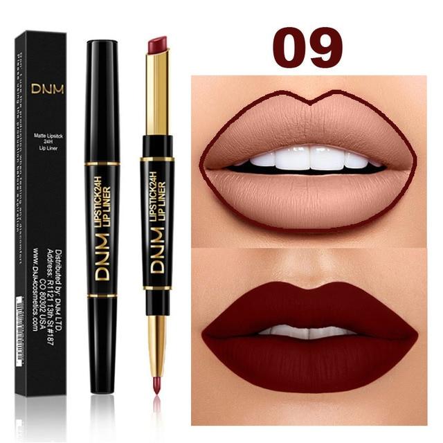 DNM 2 in 1 Lip Liner+Lipstick Long-lasting Waterproof Matte Lip Liner Pen Moisturizing Makeup Contour Cosmetics 12 Colors TSLM1 2