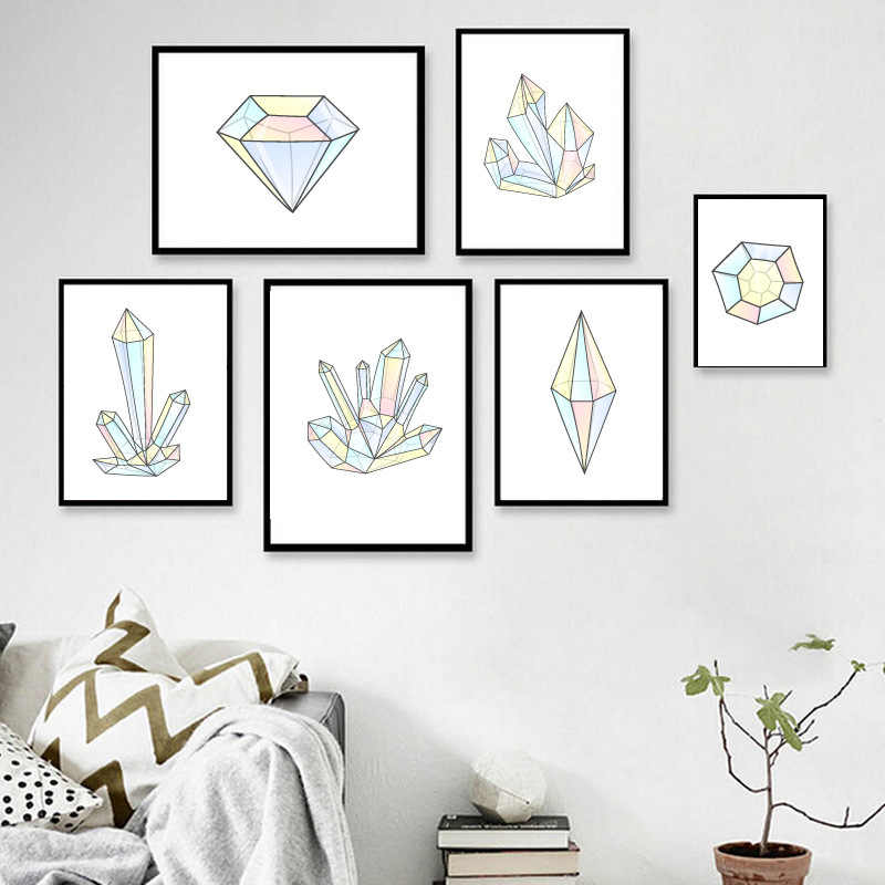 Nordic Style Wall Art Canvas Painting Poster Abstract Print Geometry Diamond Decorative Picture for Living Room Home Decor Love