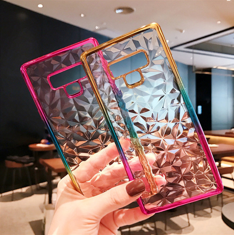 3D Diamond Gradient Case For Samsung Galaxy S10 E S9 S8 Plus Note9 J4 J6 A6 A8 Plus 2018 J3 J5 J7 2017 Colorful Plating Case