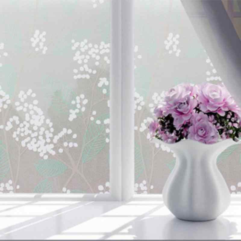 Самоклеящаяся стеклянная пленка для окон, наклейки для ванной, двери, жалюзи для ванной, матовая Цветочная паста, стеклянные художественные наклейки 45x100 см