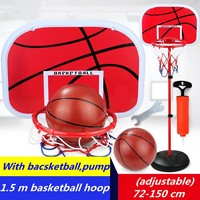 Adjustable Kids Mimi Basketball Hoop Rim Net Set 1.5m Height Backboard Basket Ball 72 150cm Red Basketball Hoop+Basketball+Pump