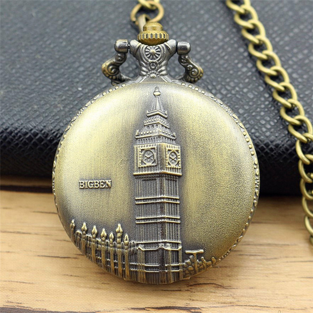 new fashion Antiqe Vintage Bronze <font><b>Big</b></font> Ben Clock Design Pocket <font><b>Watch</b></font> Casual Round Quartz Fob Time <font><b>Unisex</b></font> Gift With Necklace Chain image