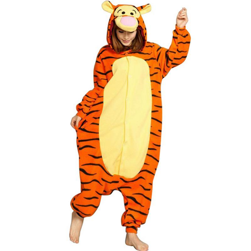 Adults Animal Pajamas Sets Home Cartoon Sleepwear Cosplay Zipper Women Men Winter Unisex Tiger Pajamas Lovers Sleepwear Homewear