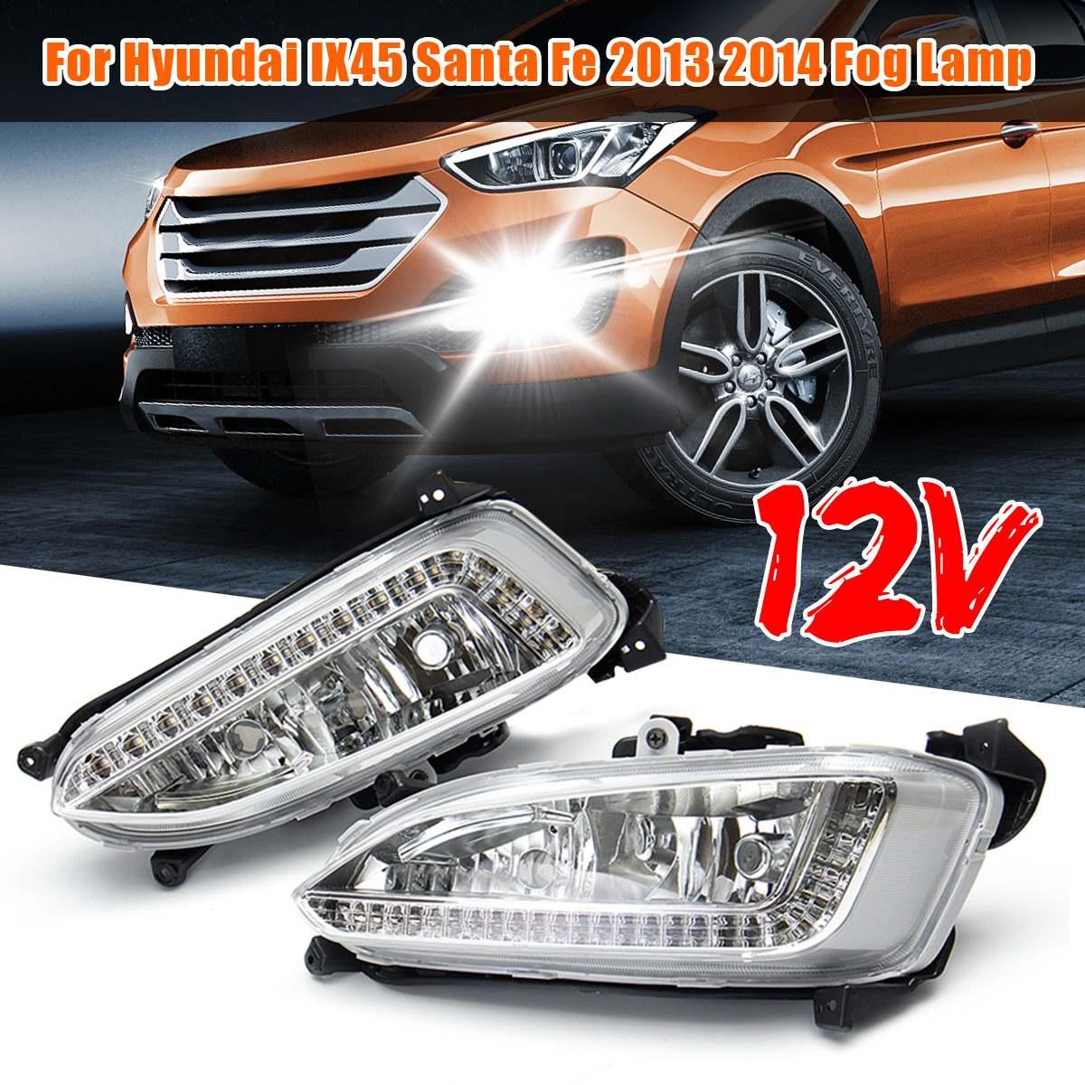 1 paire LED Brouillard Feux Diurnes Lumière Pour Hyundai Santa Fe IX45 2013 2014 2015 Accessoires De Voiture Étanche 12 V Brouillard Lampe