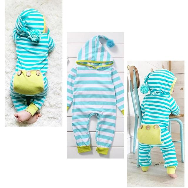 13dde01bd3f Blue And White Stripes Romper Newborn Baby Girls Boys Pom Pom Hooded  Jumpsuit Clothes
