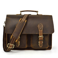 Vintage Men's Crazy Horse Leather Briefcase Genuine Leather Briefcases Men Handbag Messenger Bag Men Leather Bag Briefcase