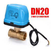 Electrical Ball Valve Brass G3/4 DN20 3/4 Inch 2 Way 220V Control Motorized Ball Valves Actuator with LED Light Mayitr