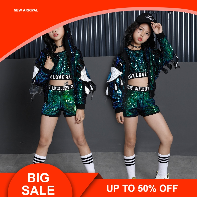 Green Girls Sequin Costumes For Holidays Kids Sequin Jacket Crop Vest Top Shorts 3pcs Children Girls Stage Dance Wear OutfitsGreen Girls Sequin Costumes For Holidays Kids Sequin Jacket Crop Vest Top Shorts 3pcs Children Girls Stage Dance Wear Outfits