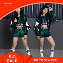 Green Girls Sequin Costumes For Holidays Kids Jacket Crop Vest Top Shorts 3pcs Children Stage Dance Wear Outfits