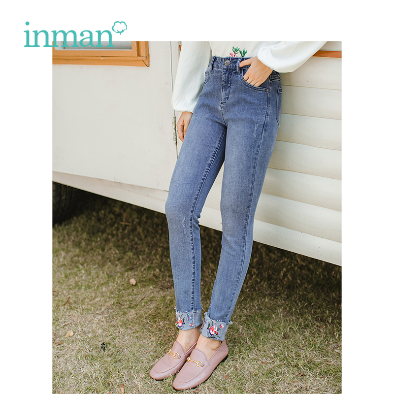 INMAN 2019 Spring New Arrival Middle High Waist Slim Literary Embroidery Retro Women Pencil Jeans
