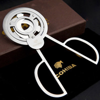 COHIBA Triple 3 Blades Stainless Steel Silver Tone Cigar Cutter Pocket Gadgets Zigarre Cutter Knife Cuban Cigars Scissors 843