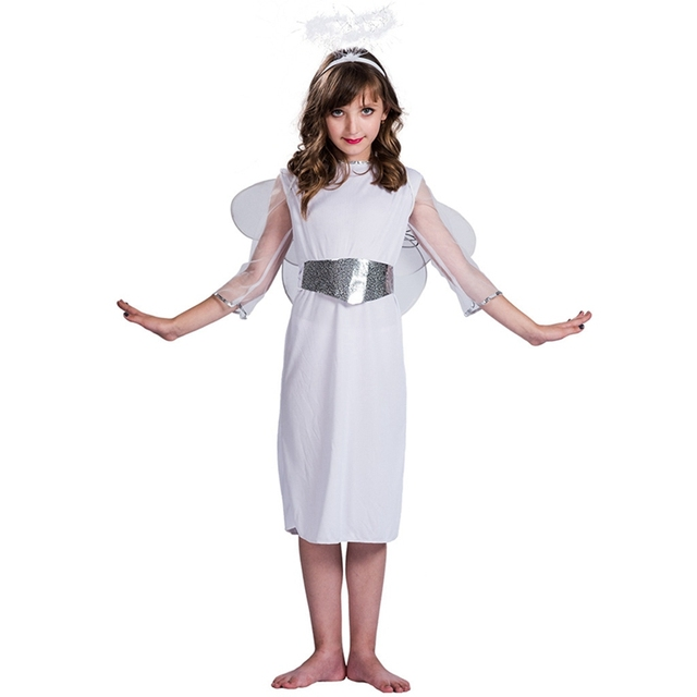 1f22d072a Deluxe Girls Angel Costume Kids Nativity Play Christmas Fancy Dress Outfit  Child