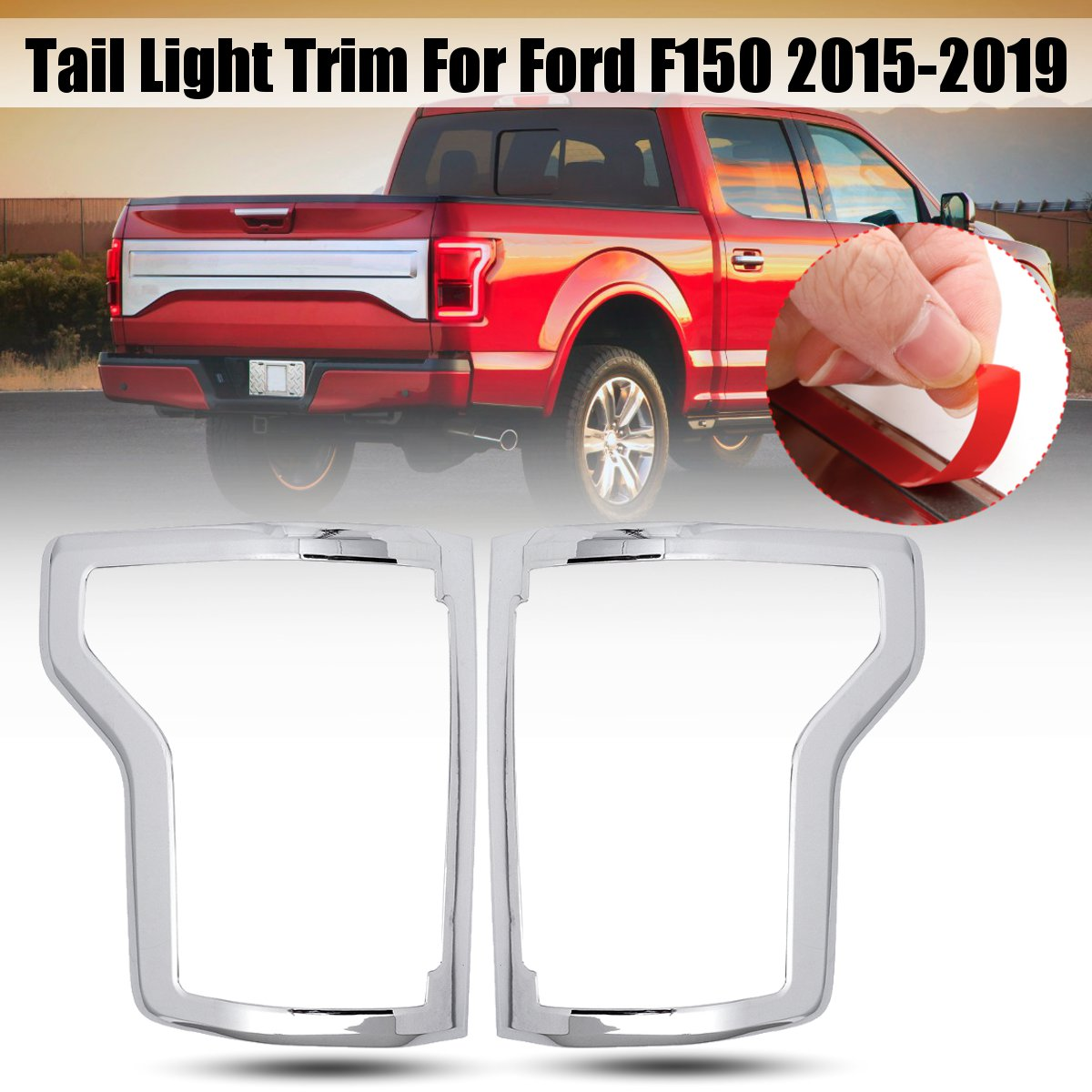 Pair ABS Chrome Rear Tail Light Lamp Frame Cover Trims For Ford F150 2015 2016 2017 2018 2019 Car Exterior AccessoriesPair ABS Chrome Rear Tail Light Lamp Frame Cover Trims For Ford F150 2015 2016 2017 2018 2019 Car Exterior Accessories