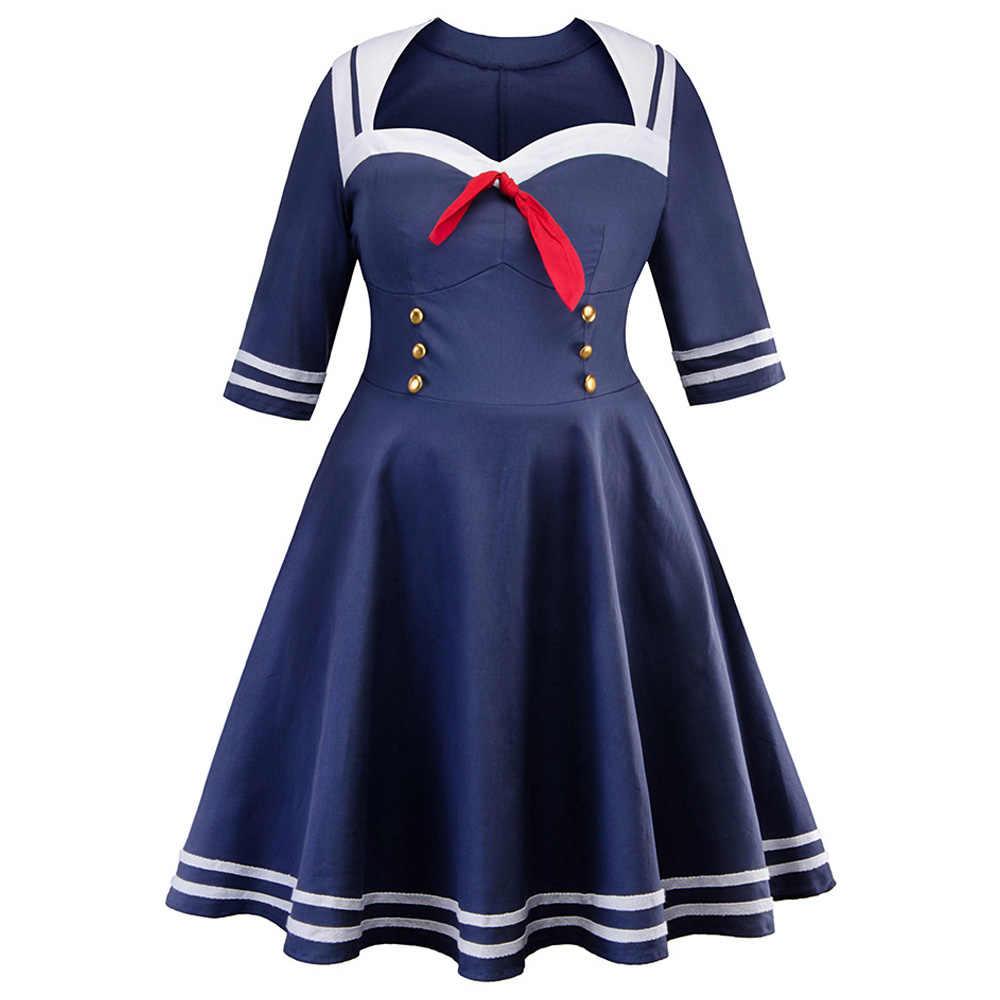 Plus Size Navy Blue Sailor Vintage Dress Double Breasted Half Sleeves Retro  Women Dress Cotton Robe Dress Femme Vestidos