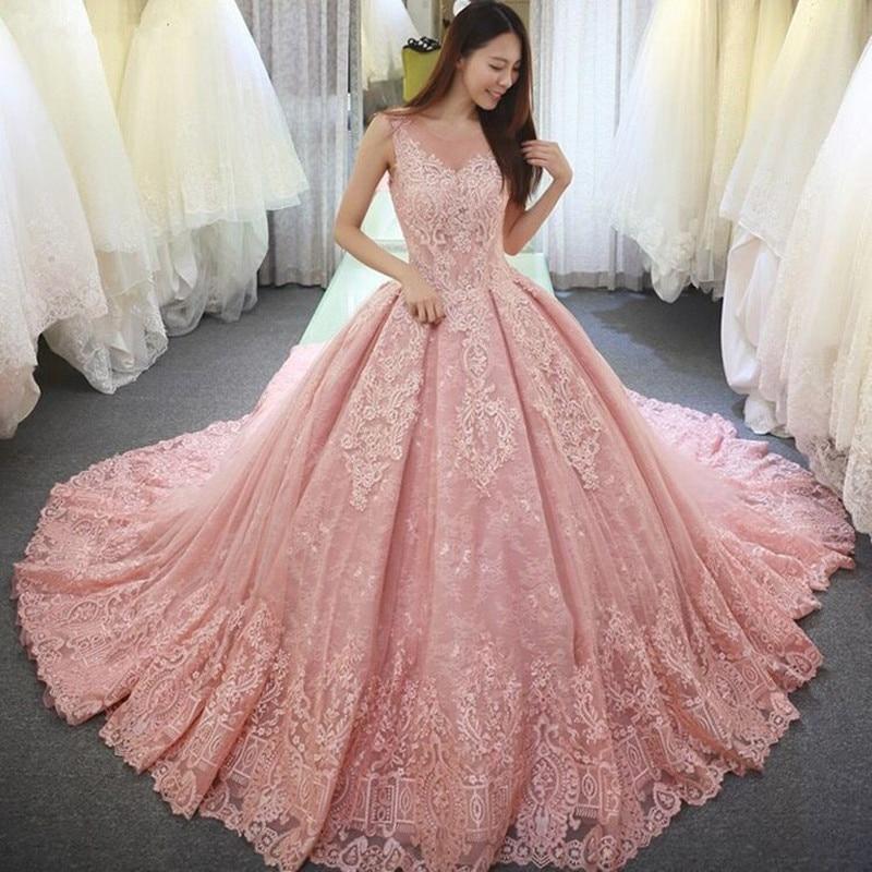 Katristsis d Pink Lace Applique Ball Gown Wedding Dresses 2019 vestido de noiva long robe de