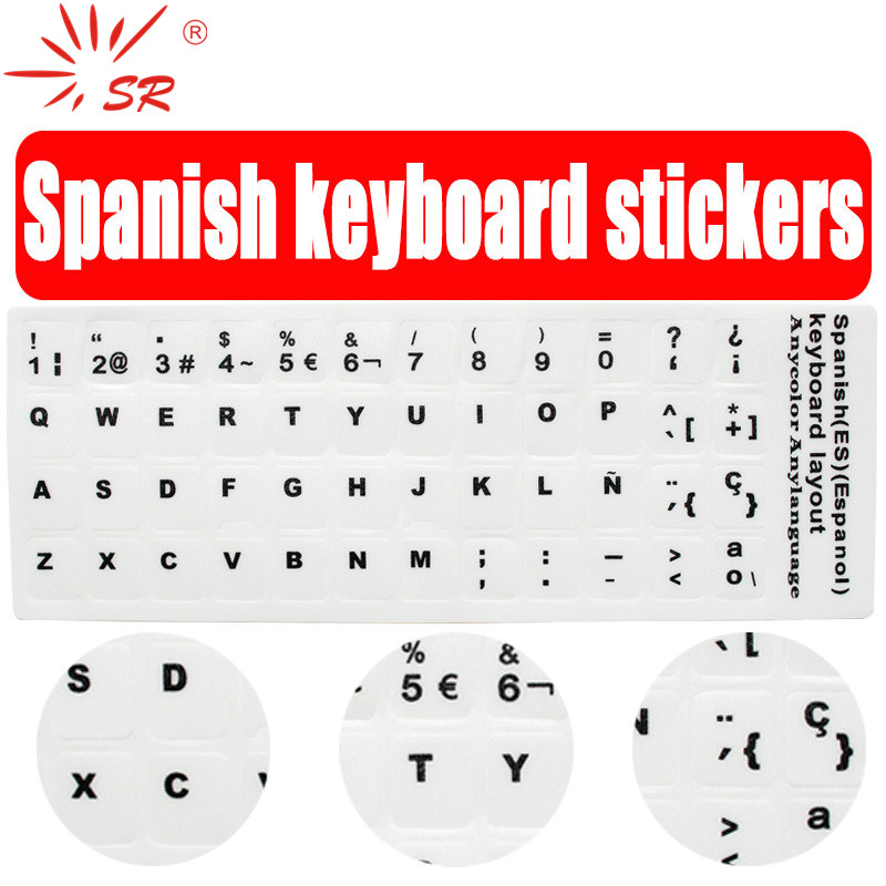 SR Standard Spanish Language 7 Types Keyboard Stickers Layout Button Letters Alphabet for PC Laptop Accessories Computer