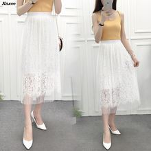 2018 women skirts lace mesh long pleated skirt of high waist show thin posed the a - line summer autumn Xnxee