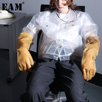 [EAM] 2019 New Spring Summer Lapel Long Sleeve PVC Transparent Button Personaity Big Size Jacket Women Coat Fashion WC358