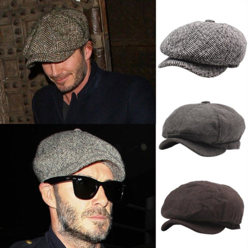 New fall Winter Men's Genuine Fur Ivy Hat Cap Headgear   Beanie   Beret Cabbie cap