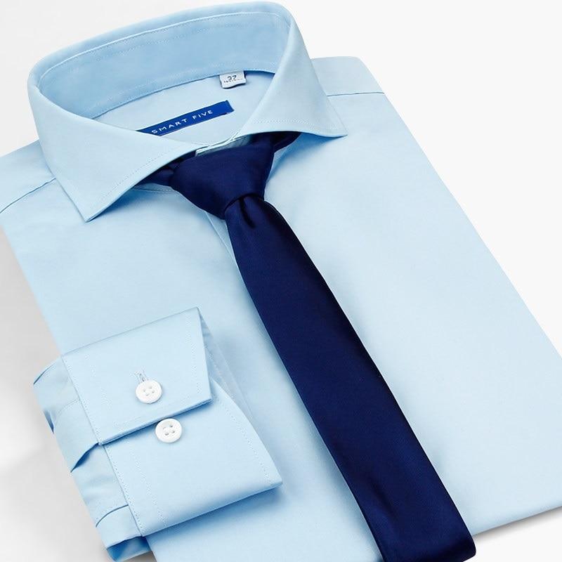 Gastfreundlich Smart Fünf Kleid Shirt Männer Regular Fit Feste Hochzeit Business Weiß Blau Camiseta Hombre Langarm Herren Weißes Hemd Sommer Hemden Hemden