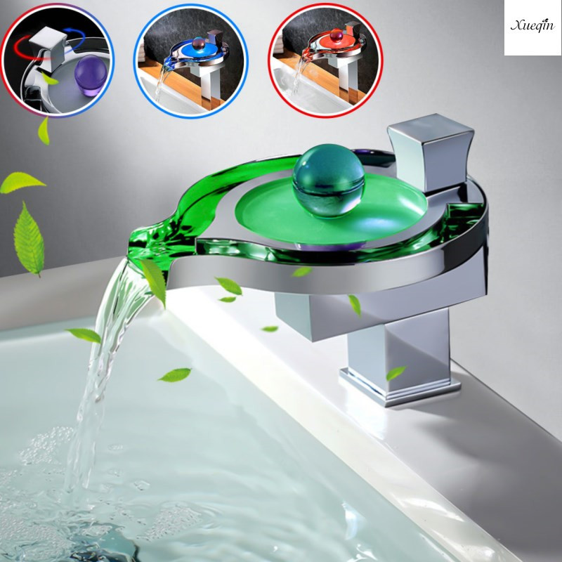 LED Colors Round Sink Waterfall Faucet Chrome Single Lever Bathroom Polished Basin Hot And Cold Mixer Tap Deck MountedLED Colors Round Sink Waterfall Faucet Chrome Single Lever Bathroom Polished Basin Hot And Cold Mixer Tap Deck Mounted
