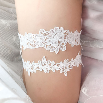 2pcs set Wedding Garters Lace Embroidery Floral Sexy Garters  for Women/Bride Thigh Ring Bridal Leg Garter Garters