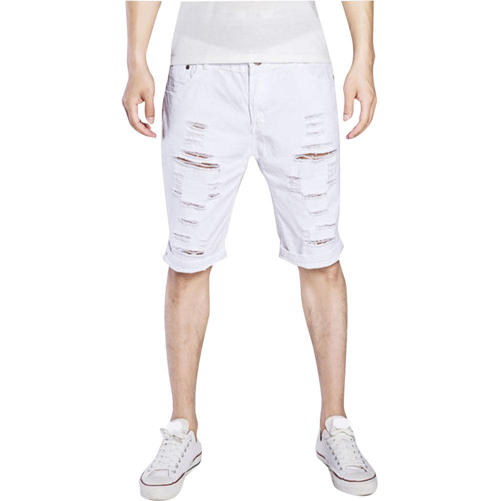 MISSKY Men Summer Shorts Solid Color Fashion Hole Destroyed Ripped Casual Jeans Knee Length Denim Pants Shorts Male Clothes