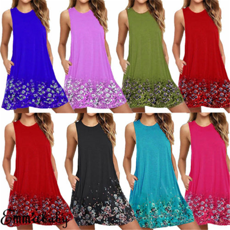 Big Size 6XL Dresses 7Colors Women's Ladies Summer Party Cotton Solid Tops Dress Clothes Plus Size Vestidos Mujer