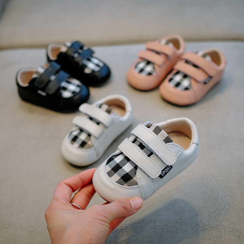 2019Spring Autumn New Newborn Boys Girls First Walkers Shoes Infant Toddler Check Pattern Anti-slip Casual Sport Shoes 0-2Y