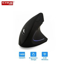 лучшая цена CHYI Ergonomics Vertical Gaming Wireless Mouse 6 Buttons 1600 DPI Optical Computer Mice With Colorful LED Light Mause With Pad