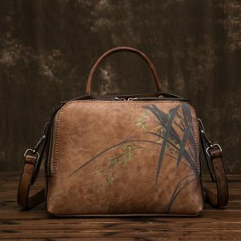 High Quality Genuine Leather Women Tote Bag Handbag Flower Pattern Crossbody Real Cowhide Top Handle Shoulder Messenger Bags