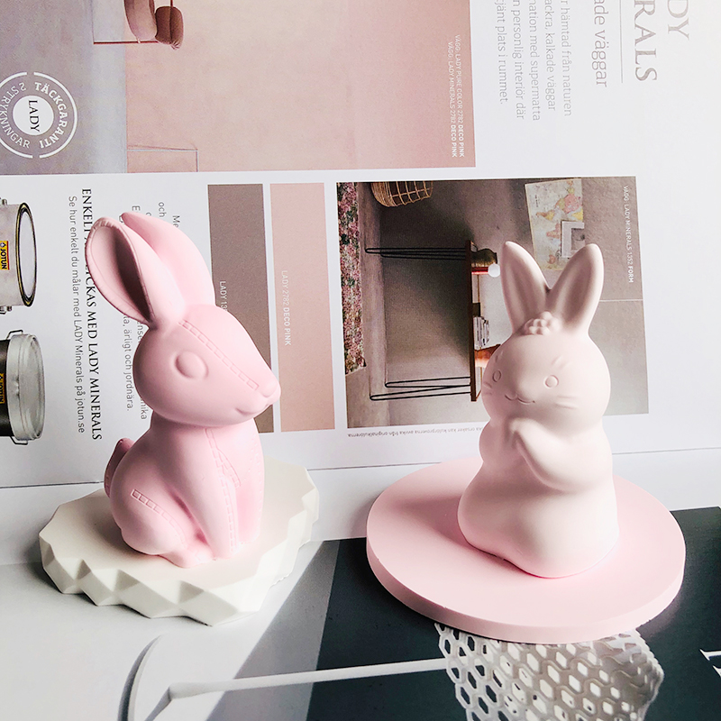 Concrete Silicone Mold 3D Rabbit Clay Mold Suitable For Gypsum Cement Crafts Bunny Candle Mould Decoration
