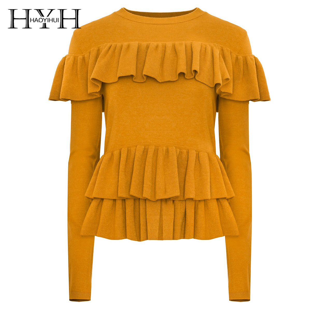 HYH HAOYIHUI Simple fashion pure color sweet wind lotus leaf trim knitted long sleeve sweater in Blouses amp Shirts from Women 39 s Clothing