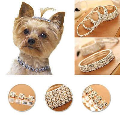 Cute Mini Pet Dog Bling Rhinestone Chocker Collars Fancy Chihuahua Dog Necklace Rhinestone Diamante