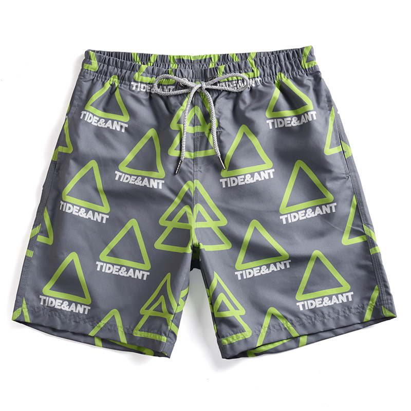 Newest Men's Surfing   Shorts   Mens Beach Pants Boy's Green Triangle Printed   Board     Shorts   Swimming   Shorts   for Man Knee Length Pants