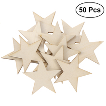 DIY 50 Pcs Unfinished Star Shape Cutout Chips Wooden Slices