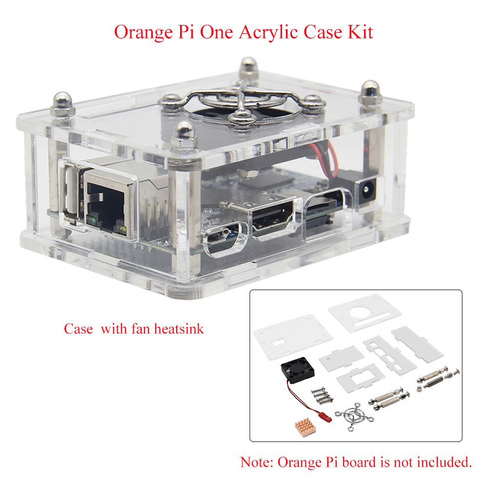 Orange Pi One Acrylic Case Kit, Clear Transparent Protective Box / Enclosure + Heatsink + Cooling Fan For Orange Pi One