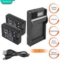 Bonacell 2 uds EN-EL14 es EL14 baterías de Li-Ion batería + cargador USB con LCD para Nikon D3100 D3200 D3300 D5100 D5200 L50