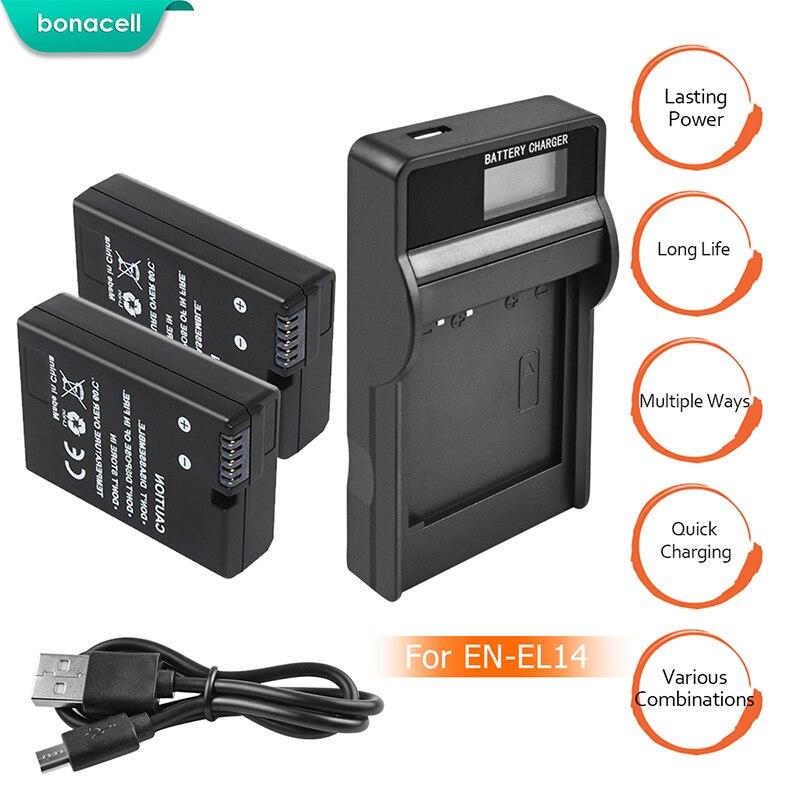 bonacell 2pcs EN-EL14 EN EL14 Li-ion Batteries Bateria + LCD USB Charger for Nikon D3100 D3200 D3300 D5100 D5200 L50